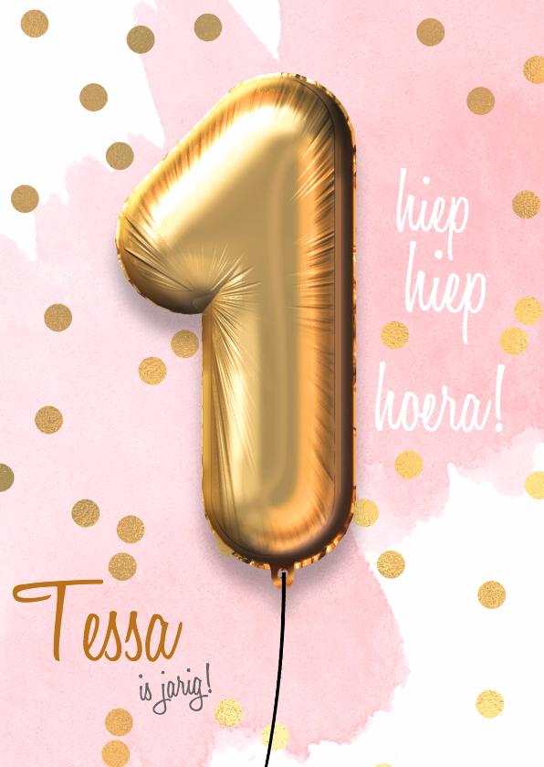 Verjaardagskaarten - Felicitatiekaart 1 jaar meisje