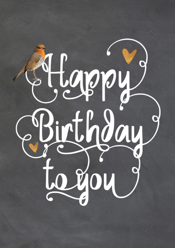 Verjaardagskaarten - Felicitatiekaart - krijtbord met handlettering