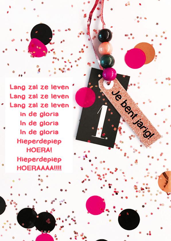 Verjaardagskaarten - Felicitatiekaart meisje confetti label
