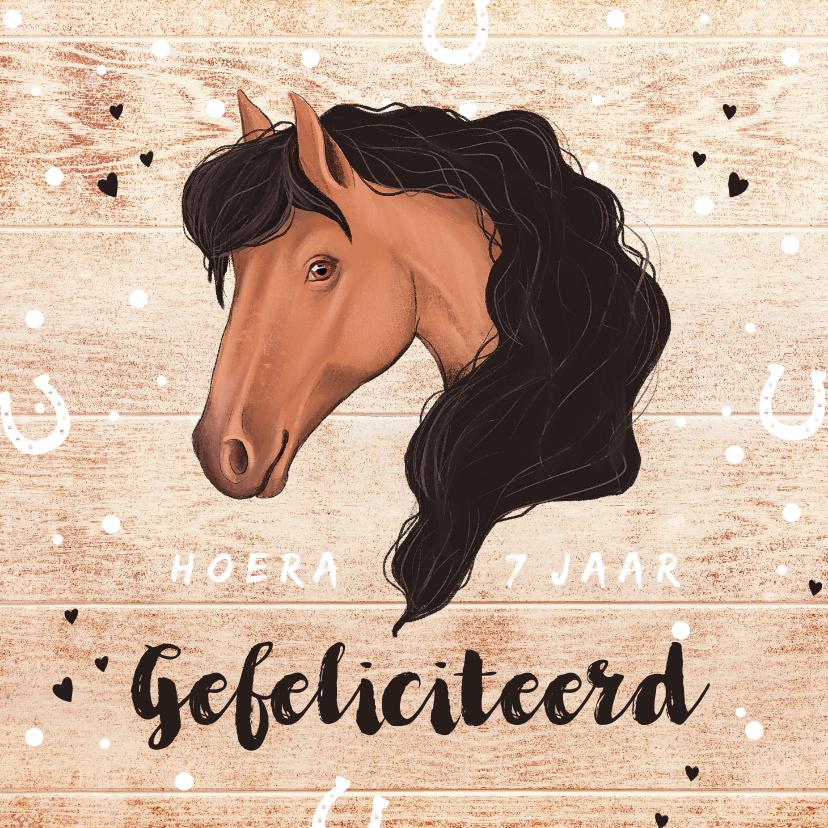 Verjaardagskaarten - Felicitatiekaart meisje paard met hout, confetti en hartjes