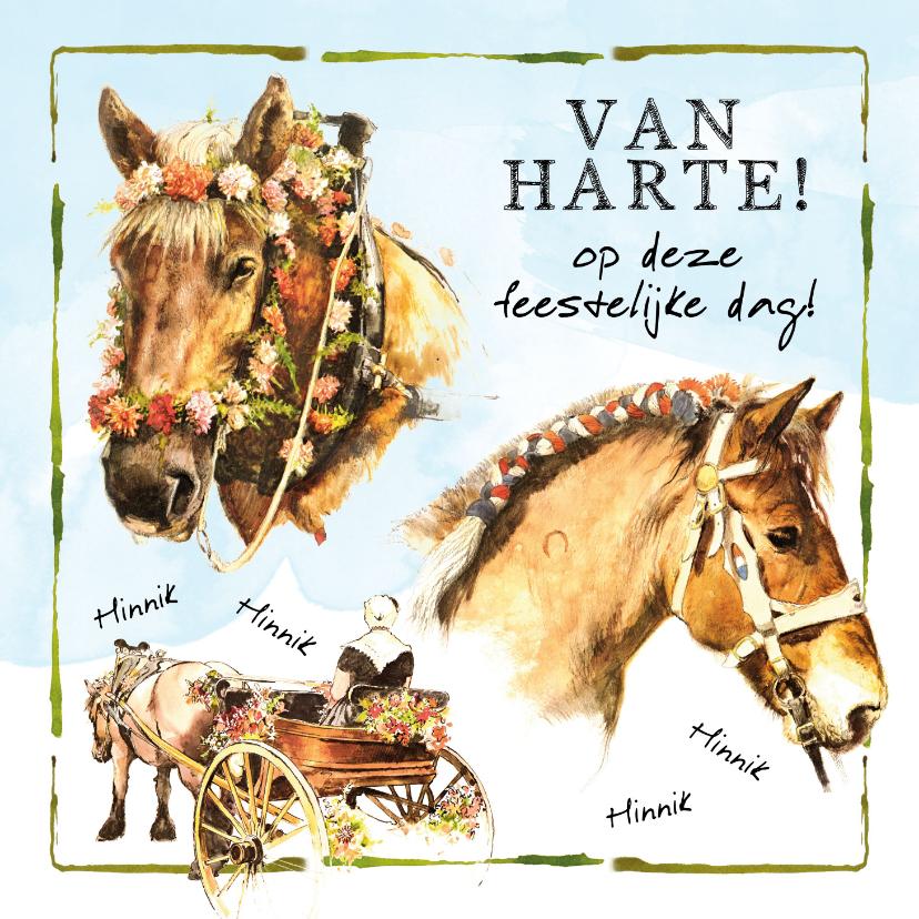 Verjaardagskaarten - Felicitatiekaart met feestelijke paarden