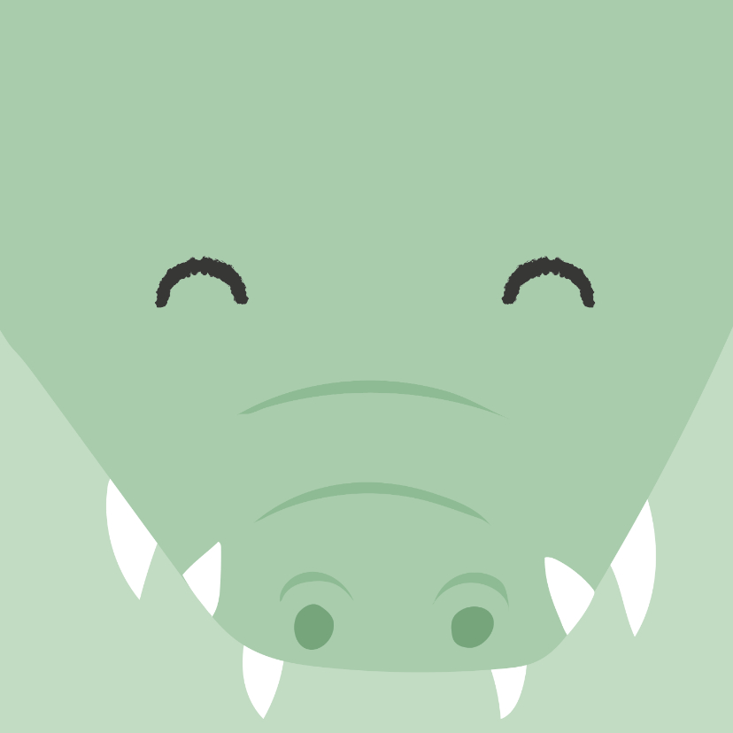 Verjaardagskaarten - Felicitatiekaart met getekend gezicht van een krokodil.