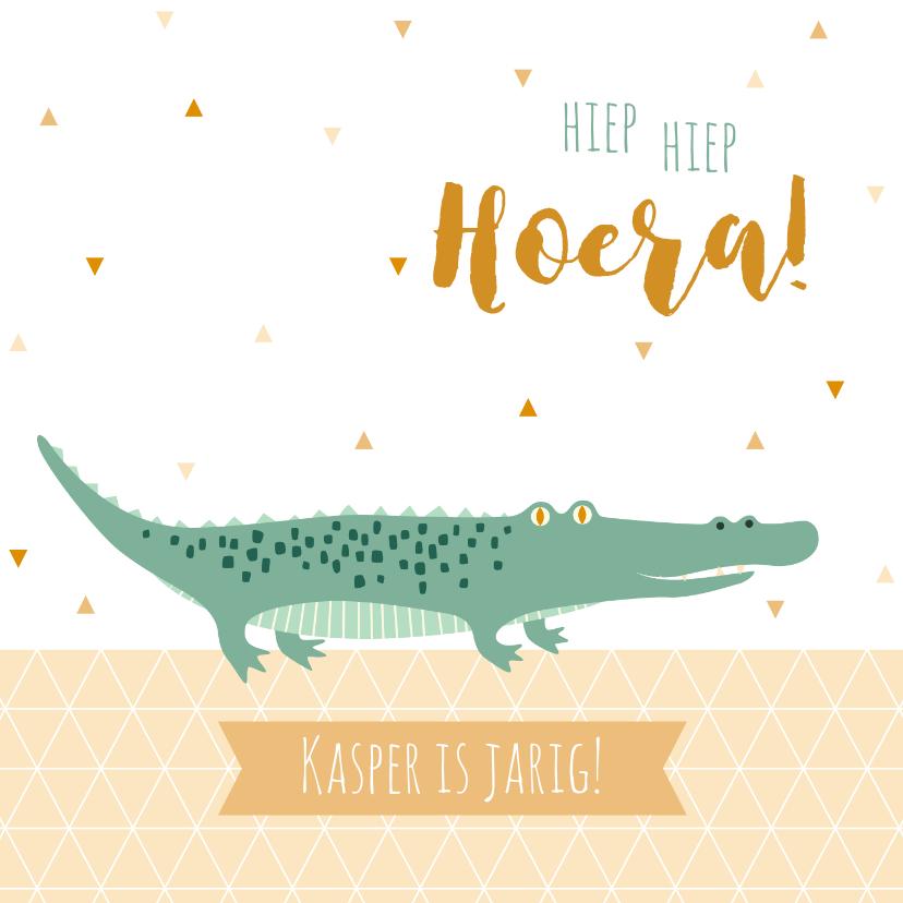 Verjaardagskaarten - Felicitatiekaart met lieve krokodil