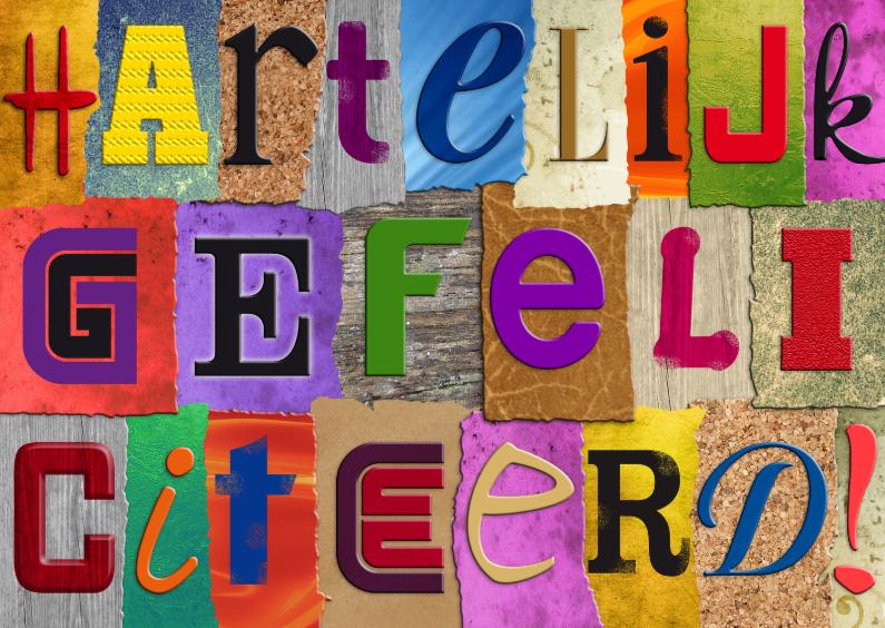 Verjaardagskaarten - Felicitatiekaart met losse letters HARTELIJK GEFELICITEERD!