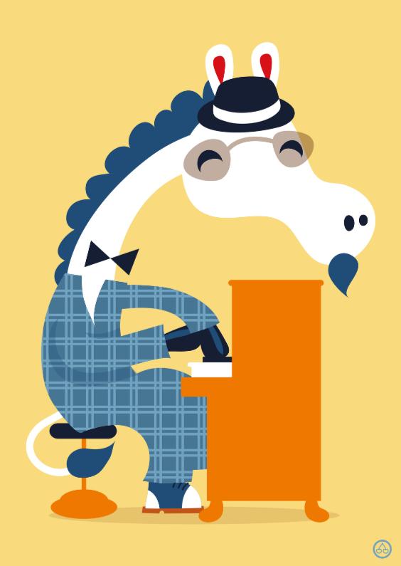 Verjaardagskaarten - Felicitatiekaart met piano spelend paard
