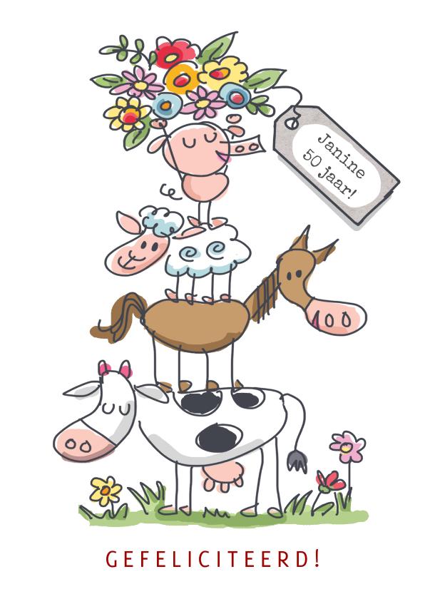 Verjaardagskaarten - Felicitatiekaart met stapel dieren en bos bloemen