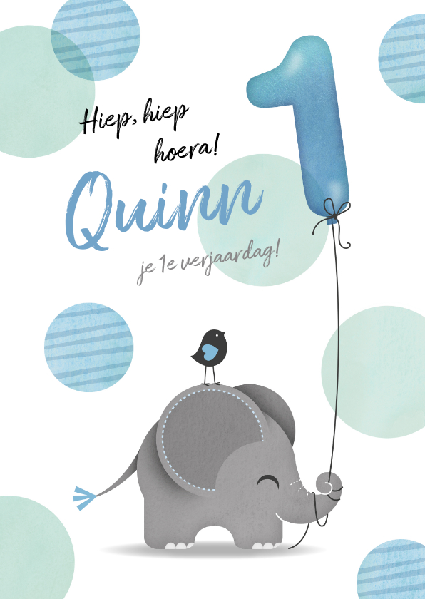 Verjaardagskaarten - Felicitatiekaart olifantje jongen 1 jaar
