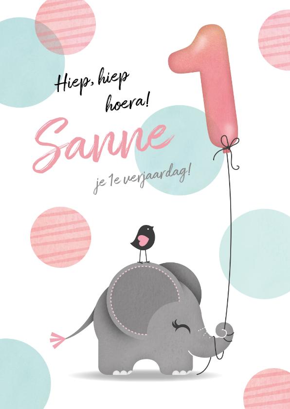 Verjaardagskaarten - Felicitatiekaart olifantje meisje 1 jaar