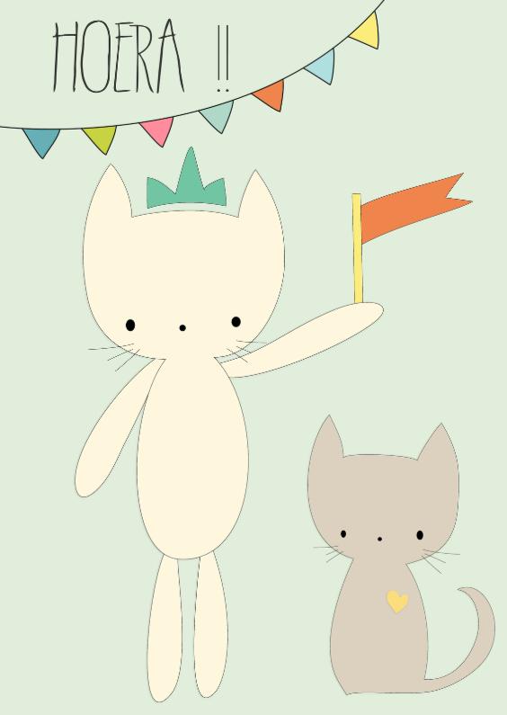 Verjaardagskaarten - Felicitatiekaart Poesjes