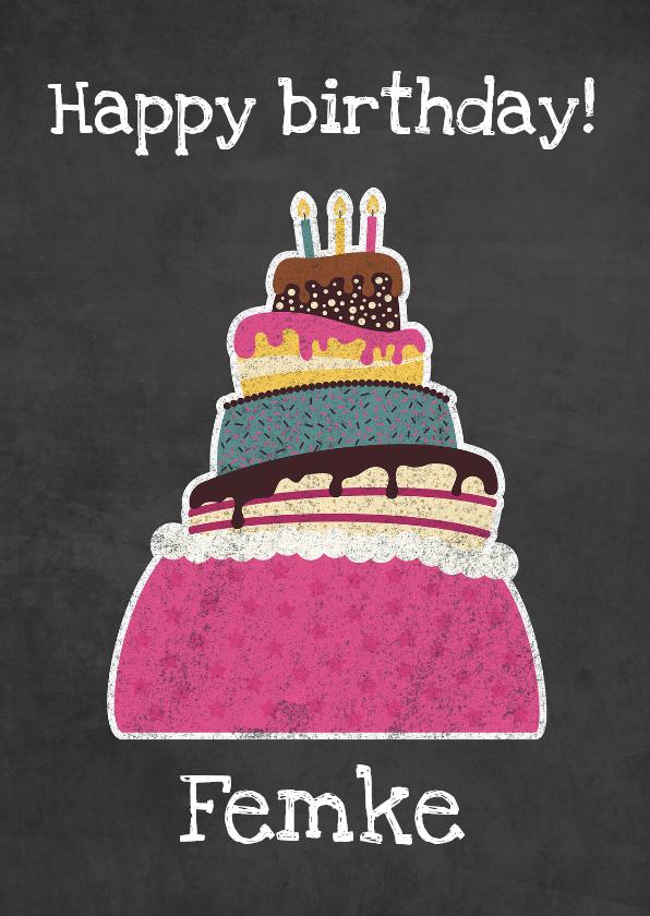 Verjaardagskaarten - Felicitatiekaart schoolbord taart - DD