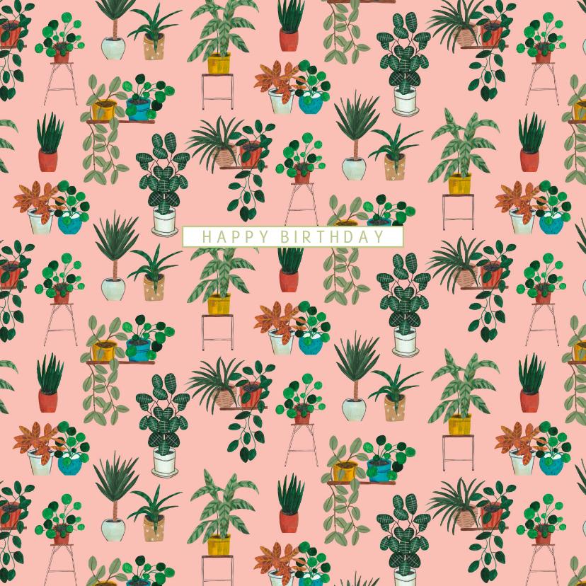 Verjaardagskaarten - Felicitatiekaart trendy botanische kamerplanten