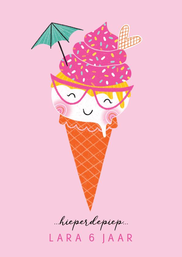 Verjaardagskaarten - Felicitatiekaart verjaardag happy ijsje roze