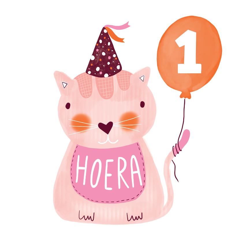 Verjaardagskaarten - Felicitatiekaart verjaardag kat roze