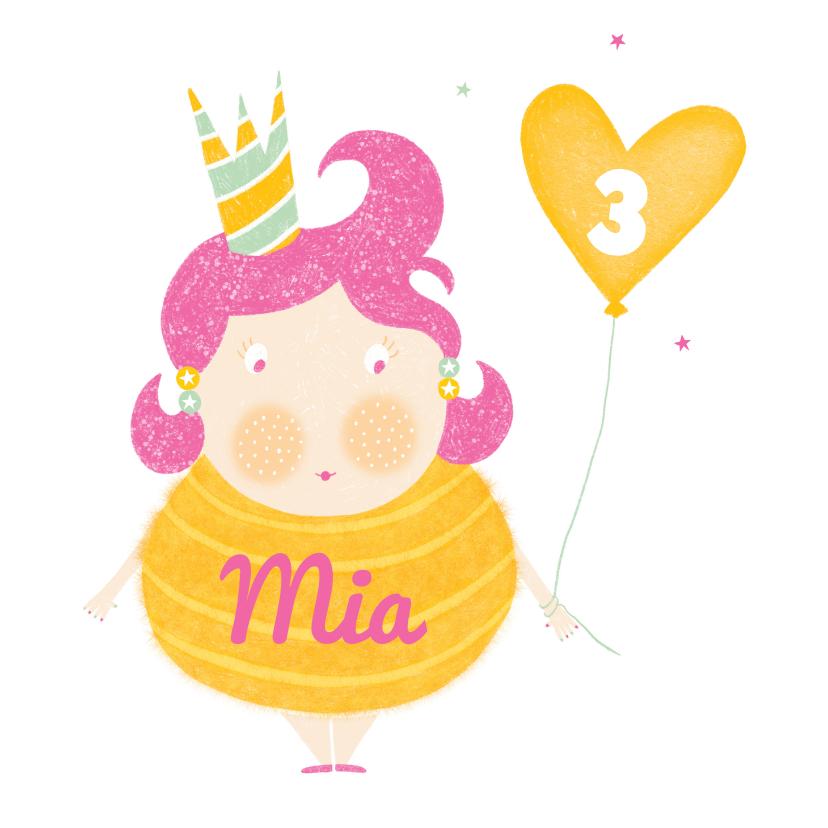 Verjaardagskaarten - Felicitatiekaart verjaardag meisje ballon geel