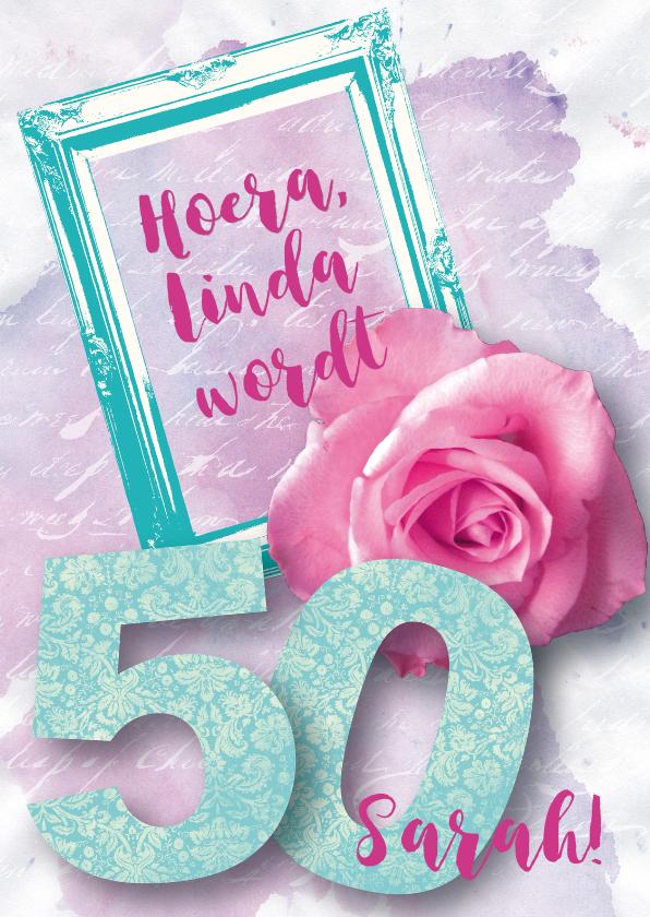 Verjaardagskaarten - Felicitatiekaart vrouw 50 roos lief