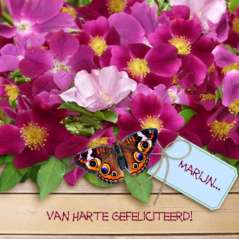 Verjaardagskaarten - Felicitatiekaart wilde roos en vlinders op houtprint