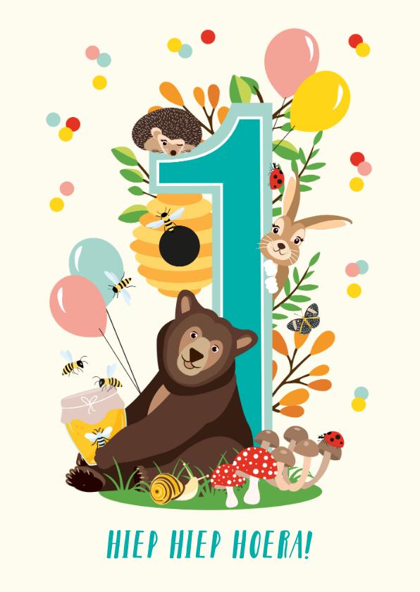 Verjaardagskaarten - Felicitatiekaartje 1 jaar met vrolijke bosdieren