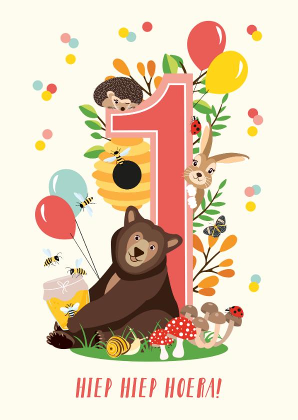 Verjaardagskaarten - Felicitatiekaartje vrolijke bosdieren 1 jaar in roze