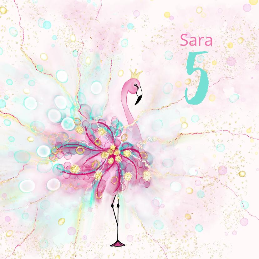Verjaardagskaarten - Flamingo met versieringen en confetti
