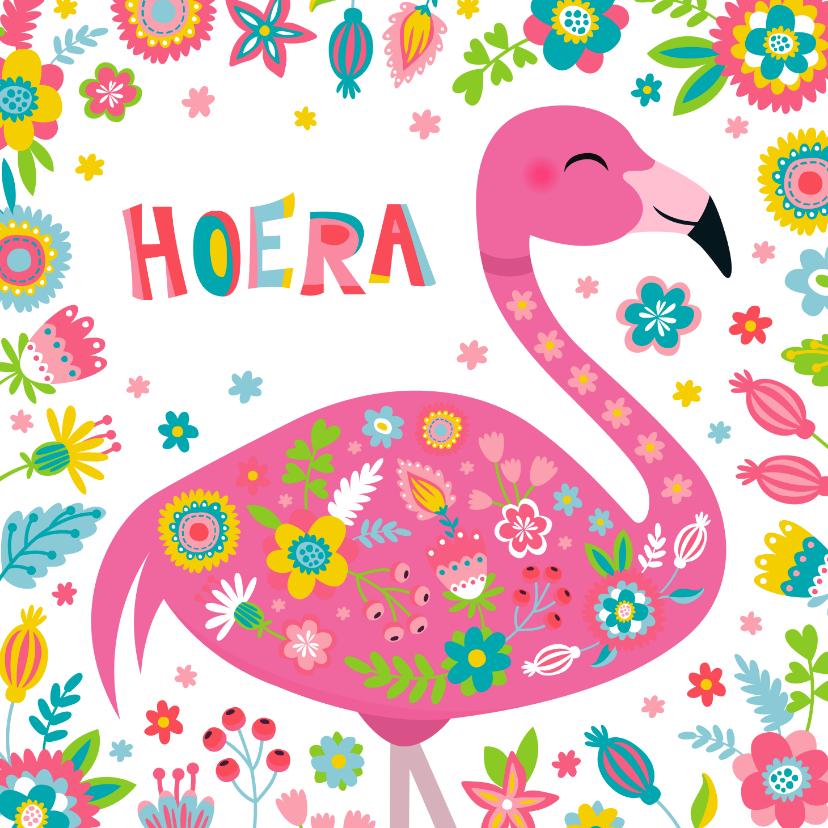 Verjaardagskaarten - Flamingo verjaardagskaart met bloemen