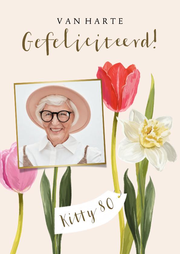 Verjaardagskaarten - Fleurige kaart met geïllustreerde voorjaarsbloemen