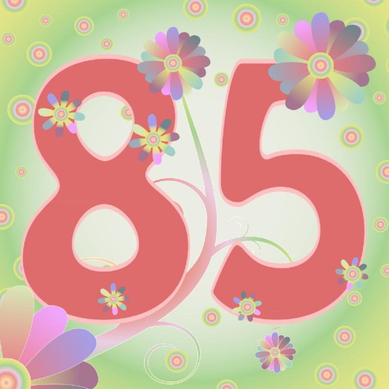 Verjaardagskaarten - flowerpower-85jaar