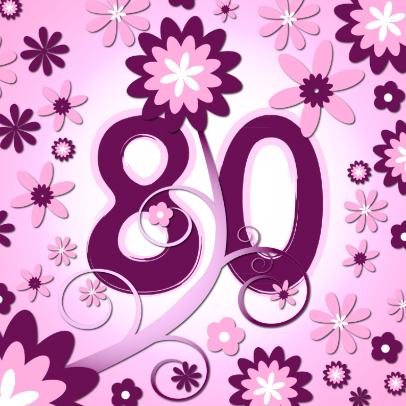 Verjaardagskaarten - flowerpower3 - 80 jaar