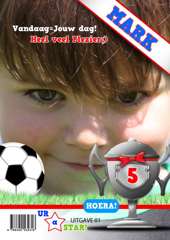 Verjaardagskaarten - fotolijst voetbal zelf invullen
