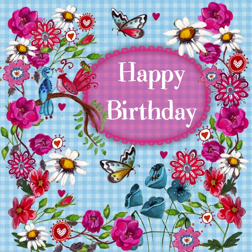 Verjaardagskaarten - Gefeliciteerd BB Bloemen Blauw Vlinder