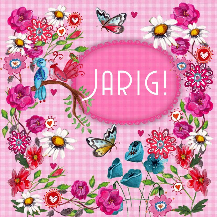 Verjaardagskaarten - Gefeliciteerd BB Bloemen Roze Vlinders