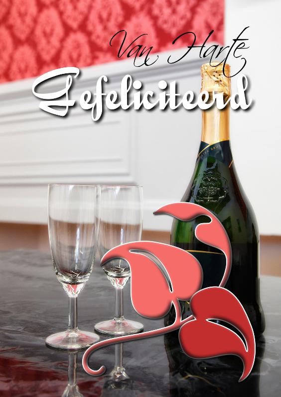 Verjaardagskaarten - Gefeliciteerd met champagne