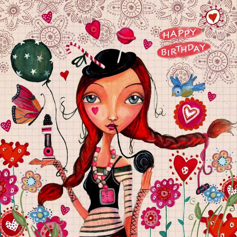 Verjaardagskaarten - Gefeliciteerd Ruitje Meisje