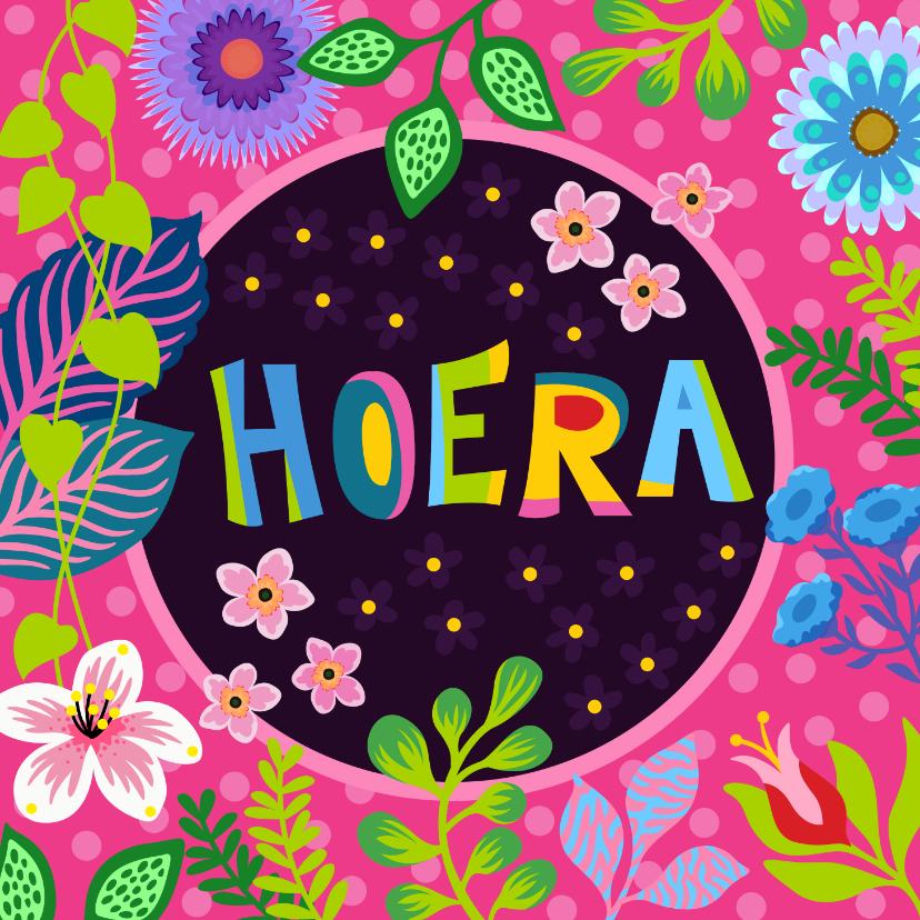 Verjaardagskaarten - Gezellige verjaardagskaart met bloemen en planten