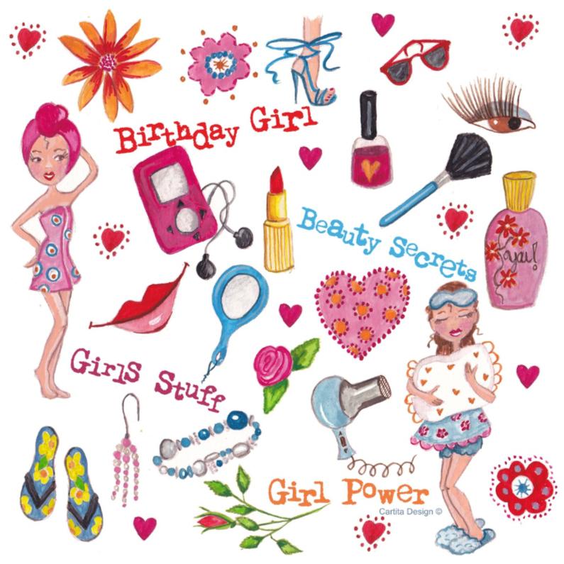 Verjaardagskaarten - Girls Stuff Jarig Cartita Design