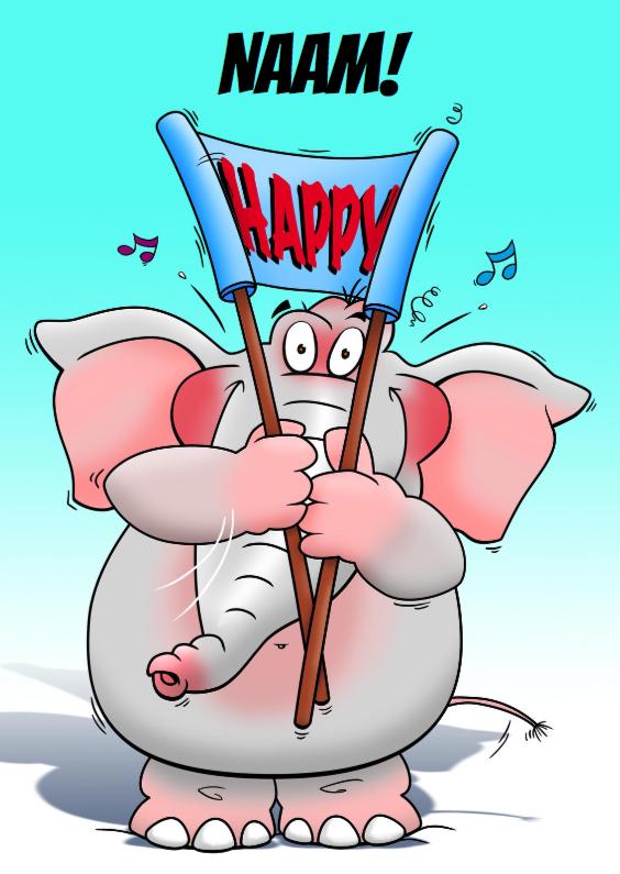 Verjaardagskaarten - Grappige olifant rolt spandoek uit Happy Birthday!