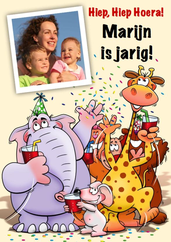 Verjaardagskaarten - Grappige verjaardagkaart met leuke dieren voor kind