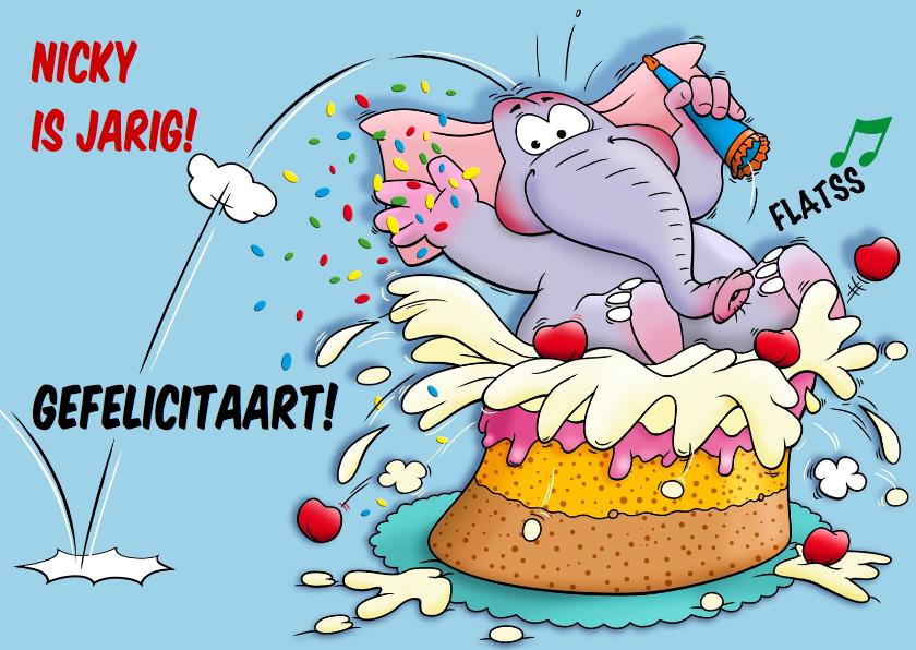 Verjaardagskaarten - Grappige verjaardagkaart met olifant springt in taart