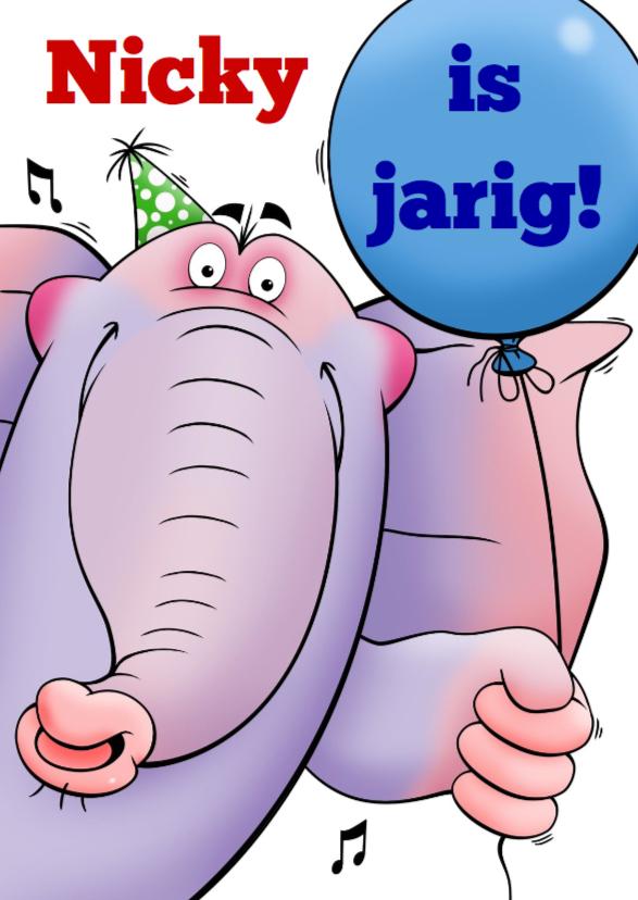 Verjaardagskaarten - Grappige verjaardagkaart olifant met ballon