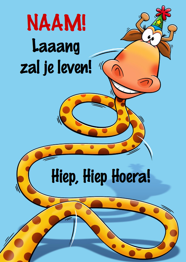 Verjaardagskaarten - Grappige verjaardagkaart slang met lange nek
