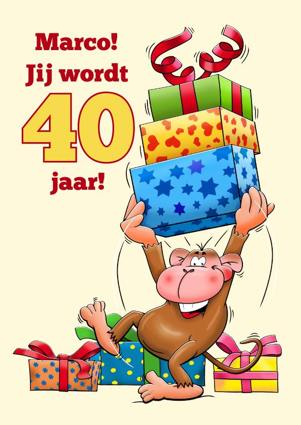 Verjaardagskaarten - Grappige verjaardagskaart aap met grote trom 40 jaar