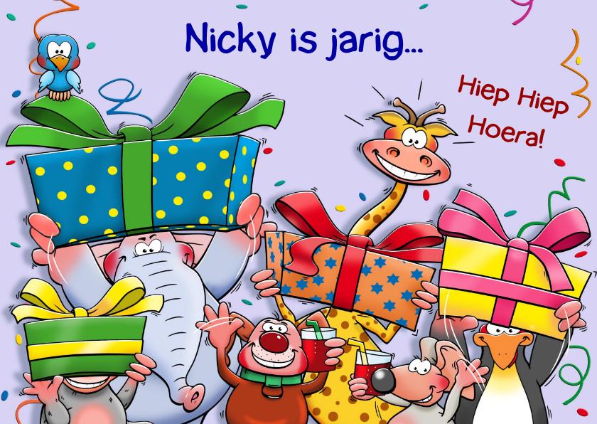 Verjaardagskaarten - Grappige verjaardagskaart beestenboel met pakjes