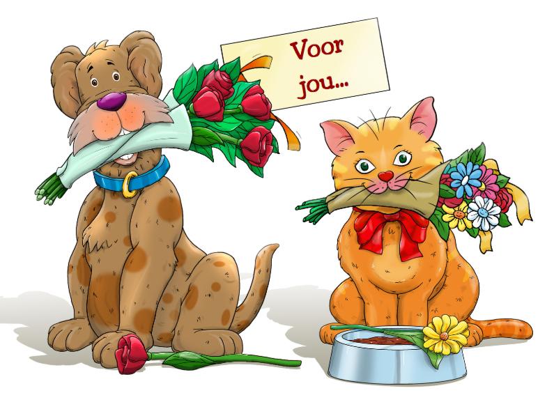 Verjaardagskaarten - Grappige verjaardagskaart hond en kat met bloemen