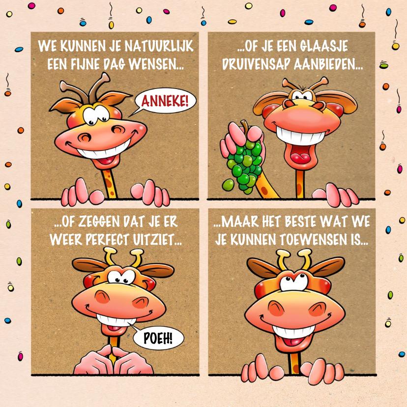 Verjaardagskaarten - Grappige verjaardagskaart met giraffen in 4 ramen