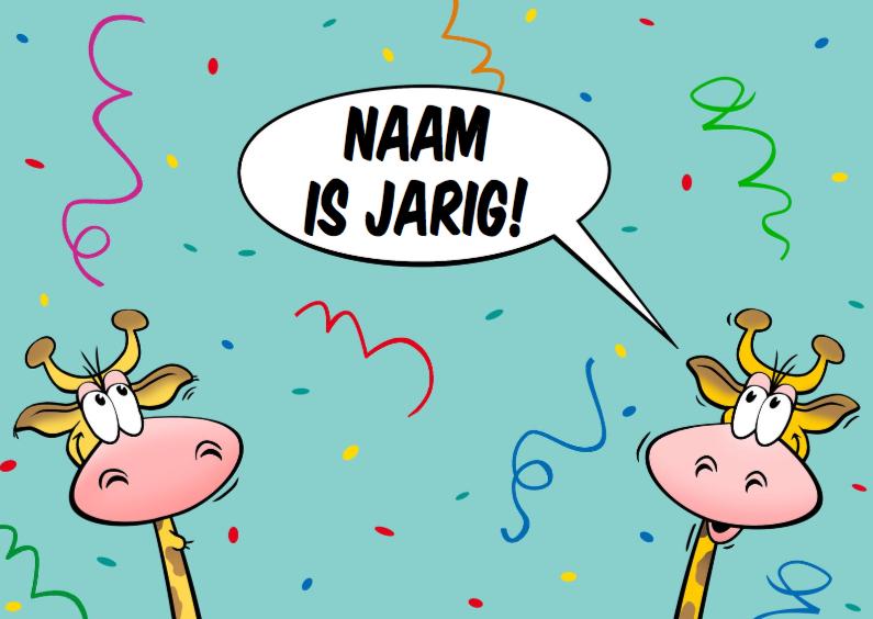 Verjaardagskaarten - Grappige verjaardagskaart met giraffen