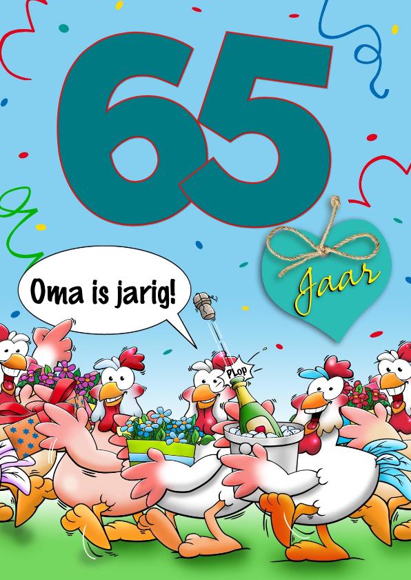 Verjaardagskaarten - Grappige verjaardagskaart met kippen en aanpasbare leeftijd