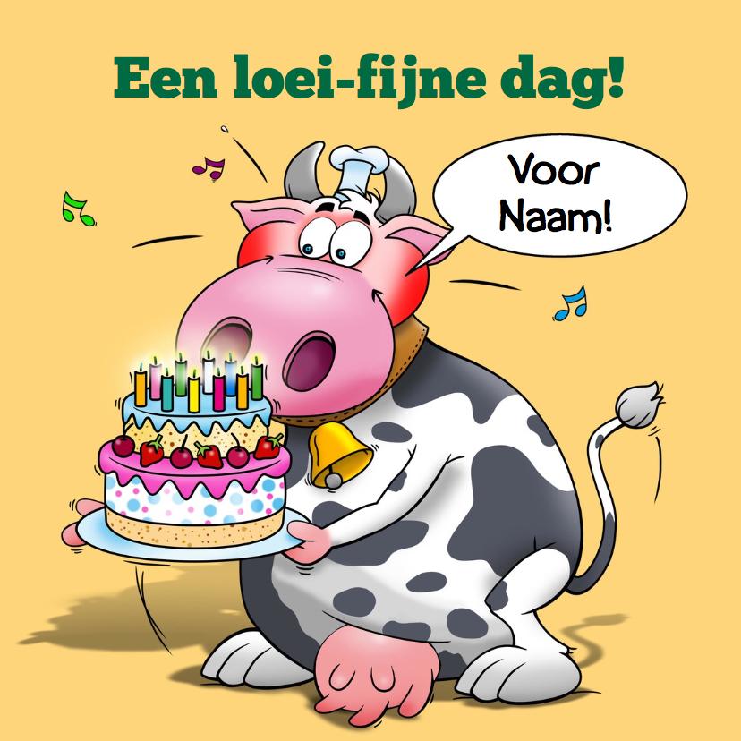 Verjaardagskaarten - Grappige verjaardagskaart met koe. Een loeifijne dag