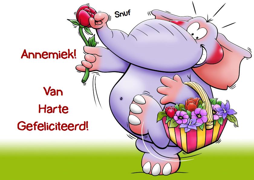 Verjaardagskaarten - Grappige verjaardagskaart met olifant en een mandje bloemen
