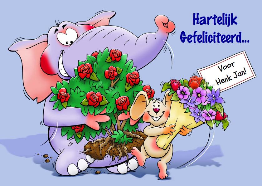 Verjaardagskaarten - Grappige verjaardagskaart met olifant en muis en bloemen