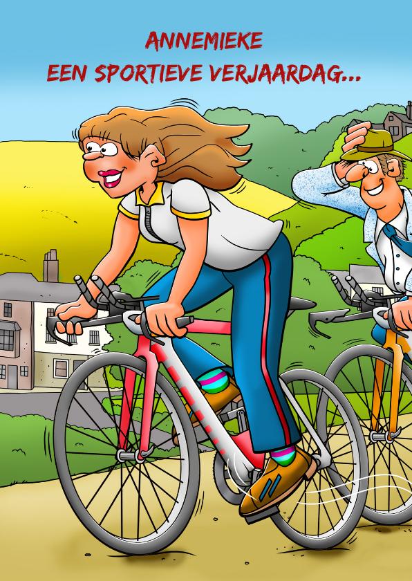 Verjaardagskaarten - Grappige verjaardagskaart met wielrenster in mooie omgeving