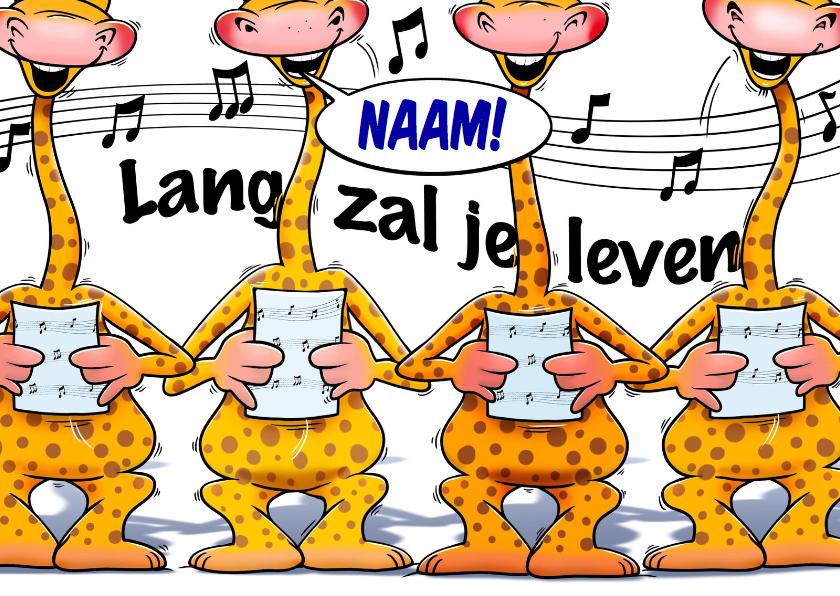 Verjaardagskaarten - Grappige verjaardagskaart met zingende giraffen